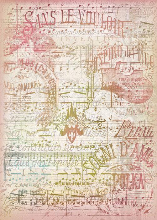 "Stamperia Motiv-Strohseide ""La Musica"""