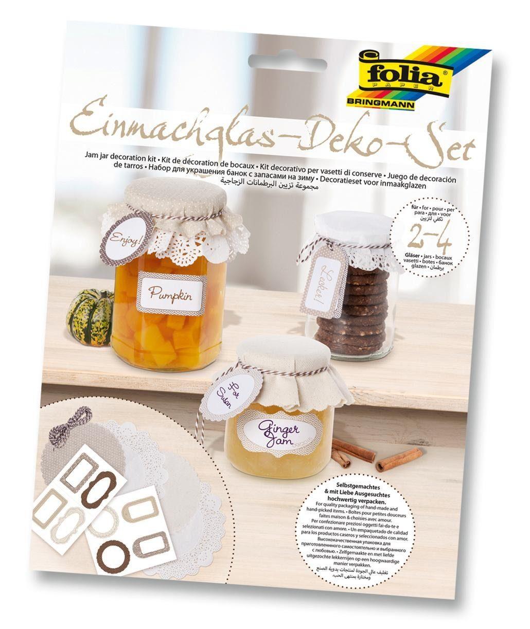 Folia Einmachglas-Deko-Set, beige/natur