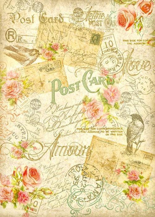 """Stamperia Motiv-Strohseide """"Postcard Amour"""""""