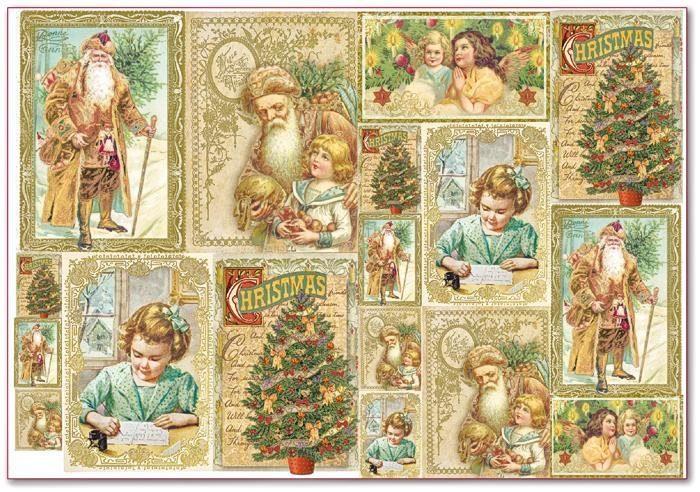 "Stamperia Motiv-Strohseide ""Christmas Cards"""