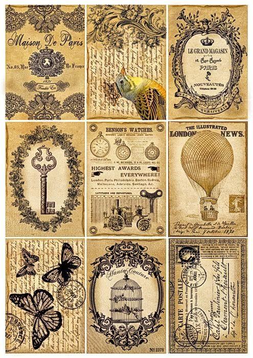"""Stamperia Motiv-Strohseide """"Vintage Labels"""""""