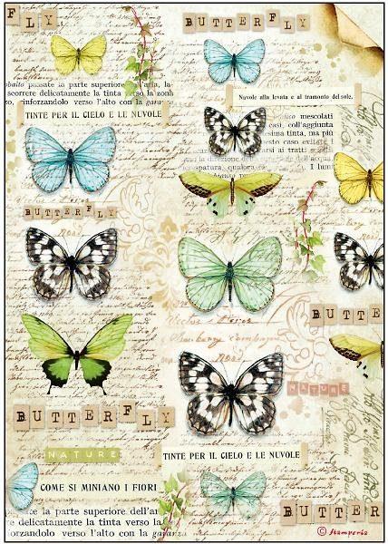 """Stamperia Motiv-Strohseide """"Papillons"""""""