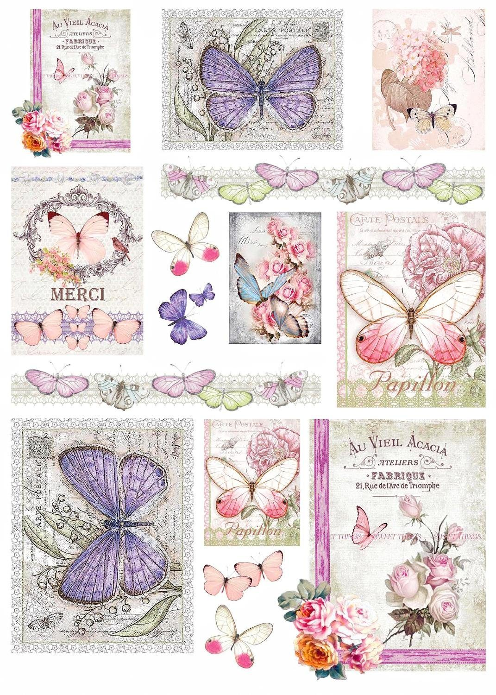 "Renkalik Motiv-Strohseide ""Vintage Butterflies"""