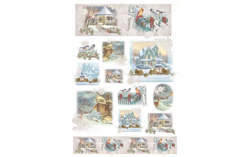 """Renkalik Motiv-Strohseide """"Weihnachten im Schnee"""""""