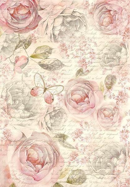 "Stamperia Motiv-Strohseide ""Shabby Rose"""