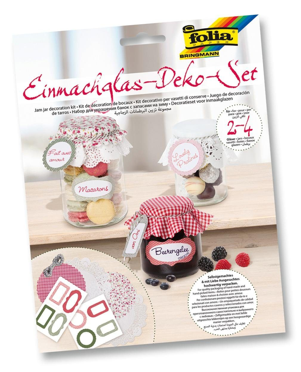 Folia Einmachglas-Deko-Set, rot/grün