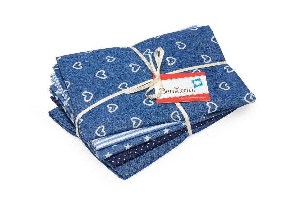 "BeaLena Stoffpaket 5er-Set ""Blue Jeans"" Stoffzuschnitte"