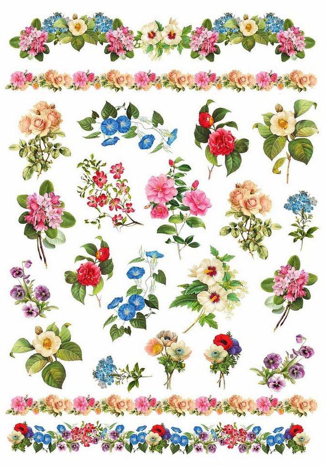 "Renkalik Motiv-Strohseide ""Gartenblumen"""