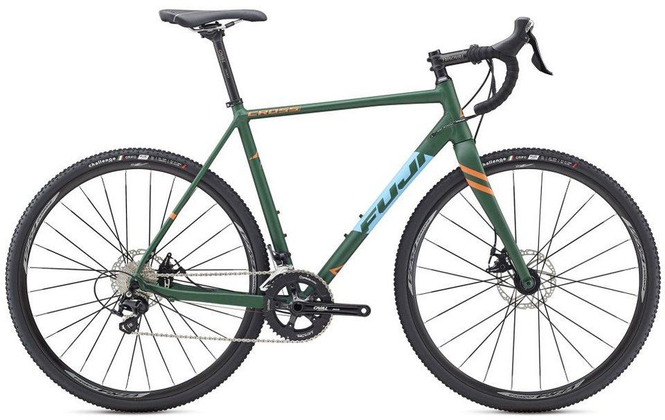 Fuji Herren Crossrad, 28 Zoll, 22 Gang Shimano Kettenschaltung, »Cross 1.7« in Grün-Blau