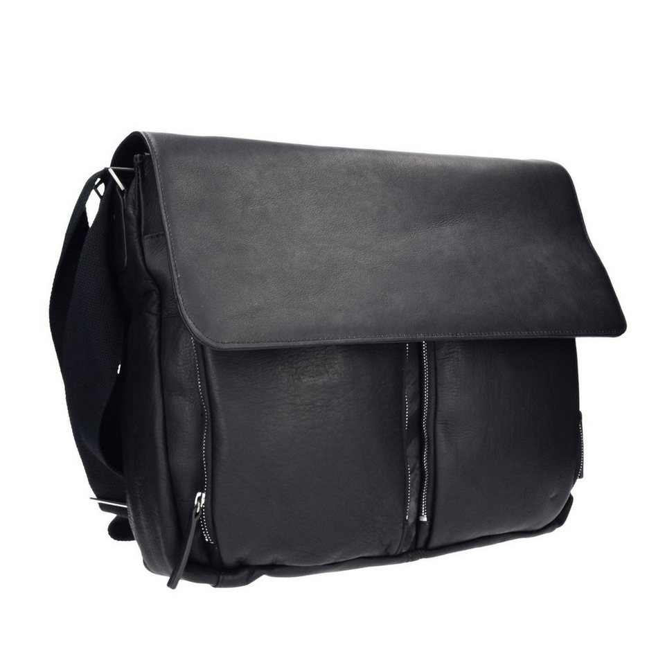 Dermata Dermata Umhängetasche Messenger Bag Leder 42 cm in black