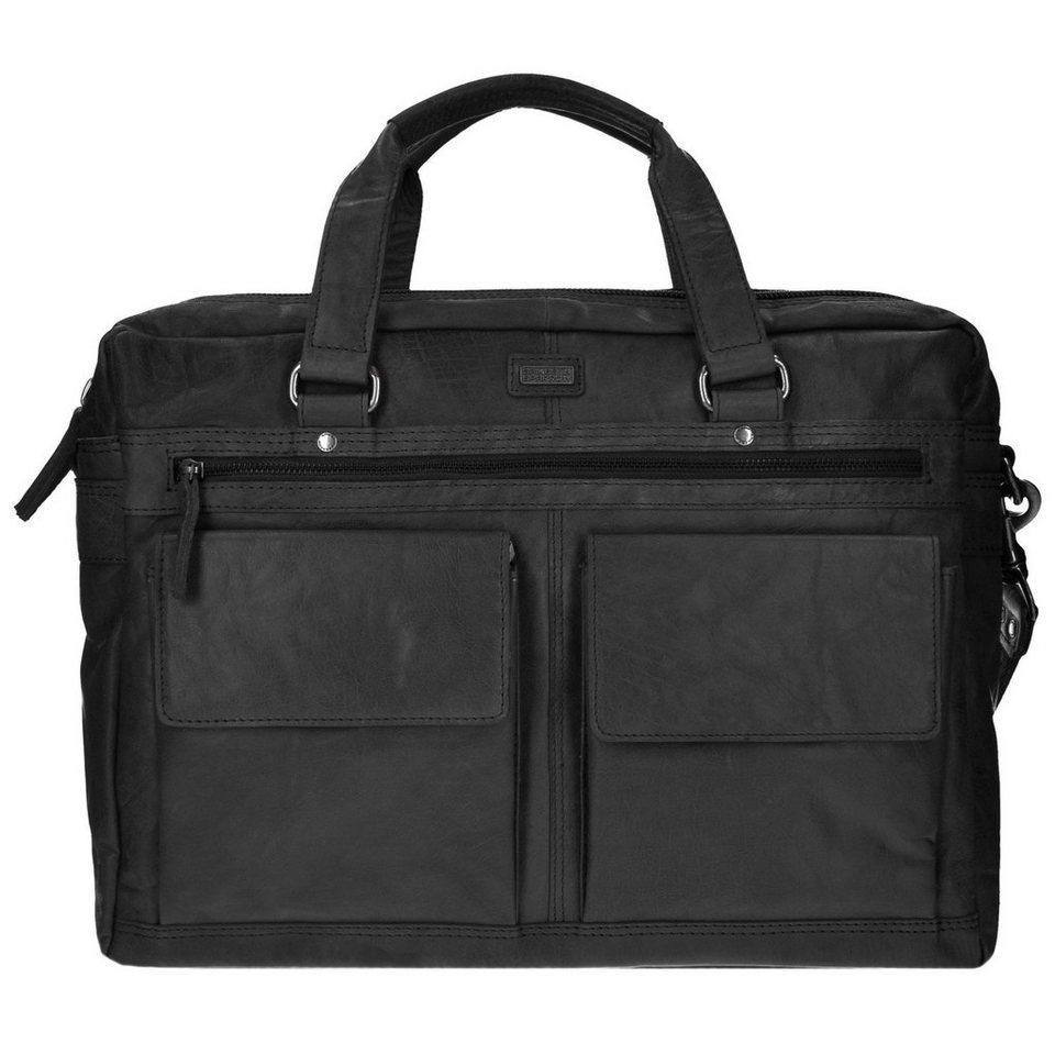 Spikes & Sparrow Bronco Aktentasche Leder 42 cm Laptopfach in black
