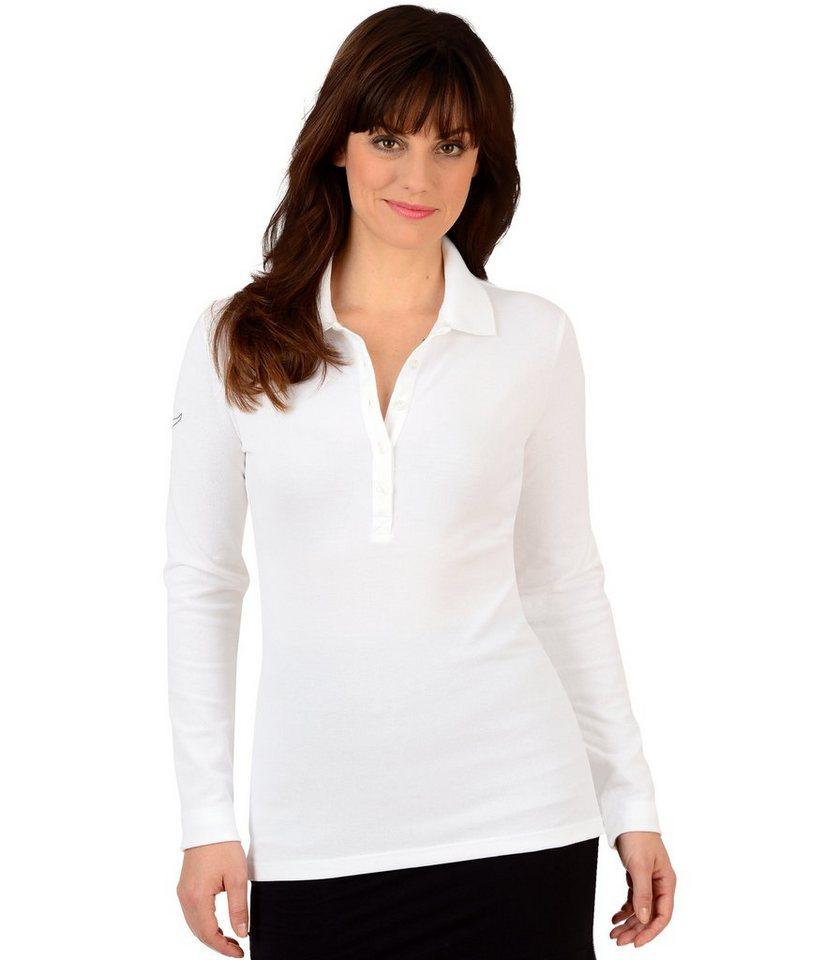 TRIGEMA Langarm Polo-Shirts mit Swarovski® Kristallen in weiss