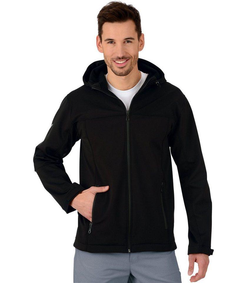 TRIGEMA Softshell-Kapuzen-Jacke in schwarz