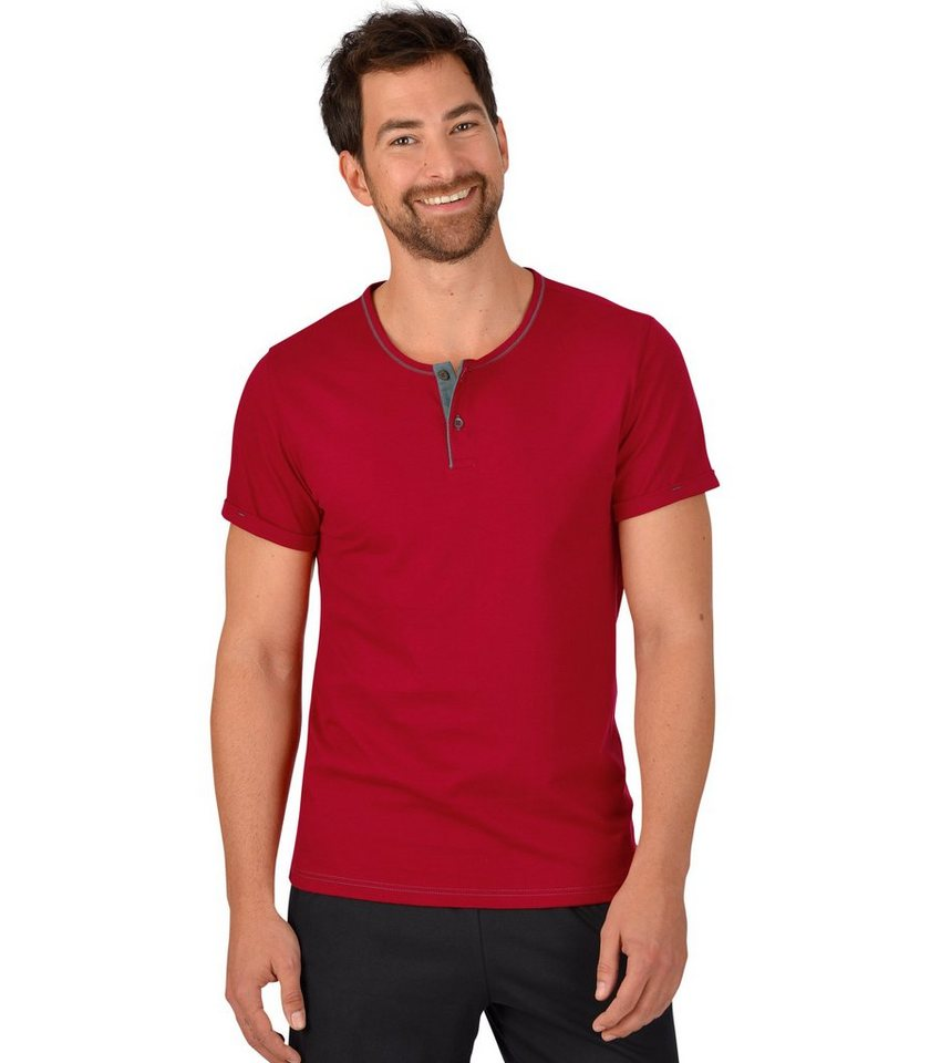 TRIGEMA T-Shirt Knopfleiste Biobaumwolle in rubin-C2C