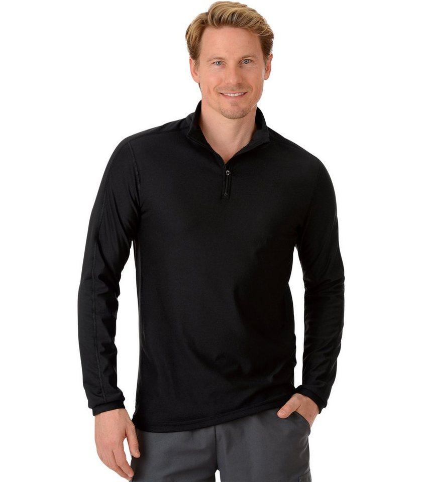 TRIGEMA Langarm Sport-Shirt in schwarz