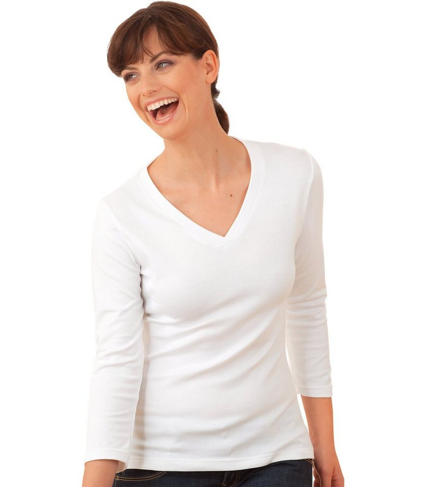 TRIGEMA Shirt 3/4 lange Ärmel in weiss