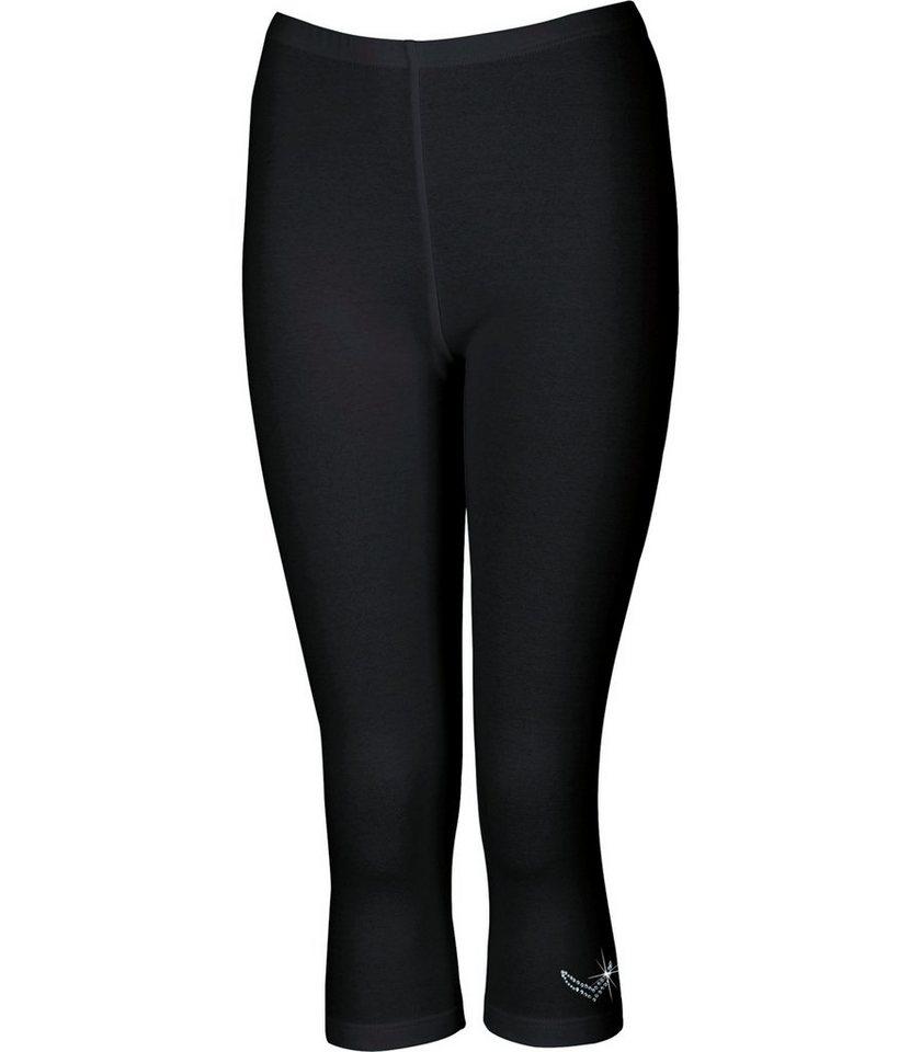 TRIGEMA Leggings 3/4 mit Swarovski® Kristallen in schwarz