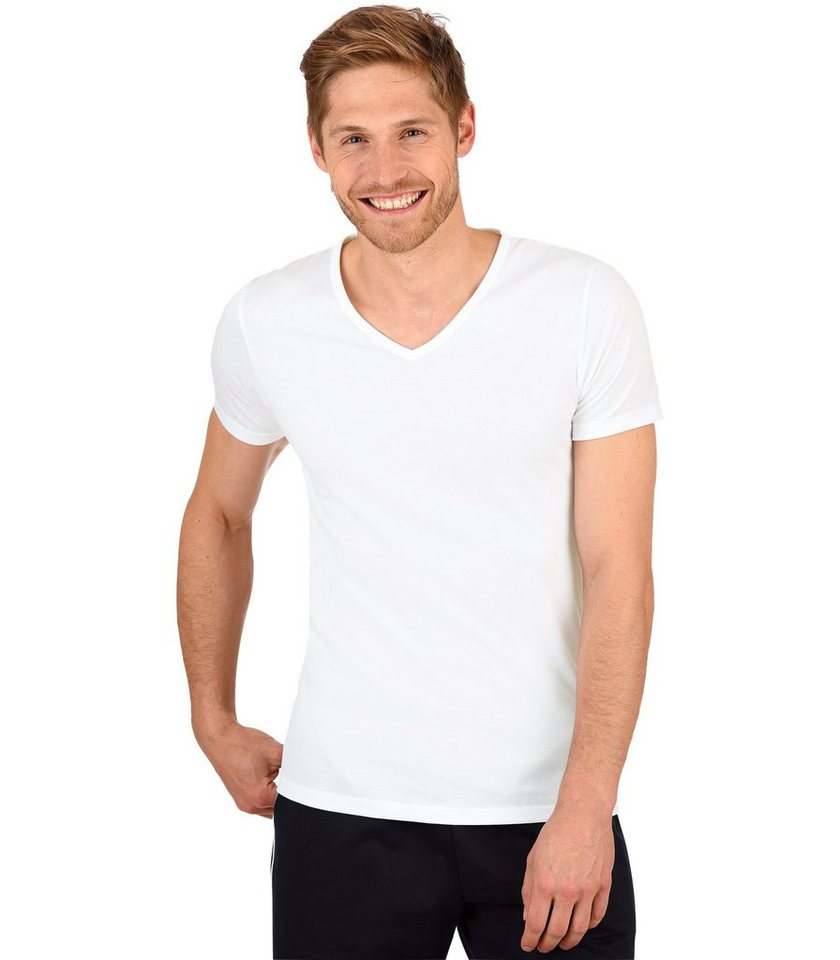 TRIGEMA V-Shirt - Slim Fit in weiss
