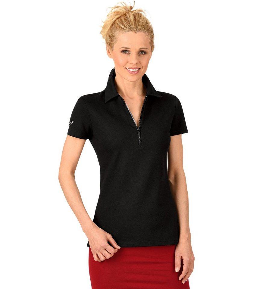 TRIGEMA Poloshirt mit Swarovski® Kristallen in schwarz