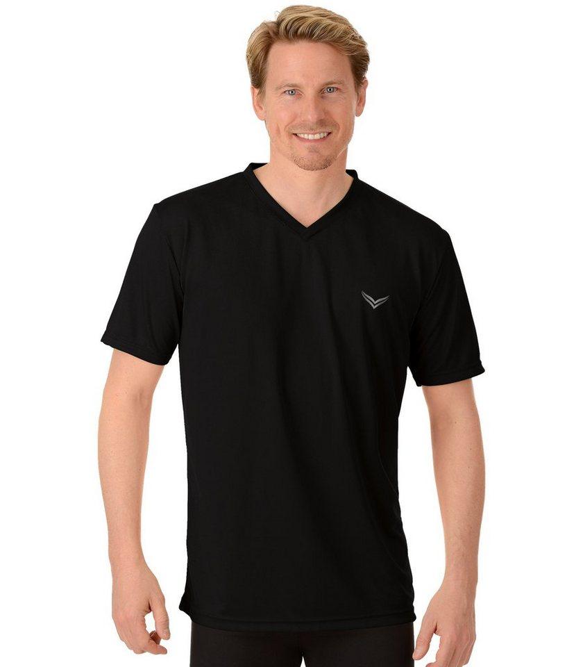 TRIGEMA V-Shirt COOLMAX in schwarz