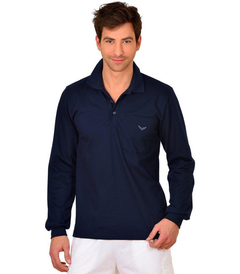 TRIGEMA Langarm Polo-Shirt in navy
