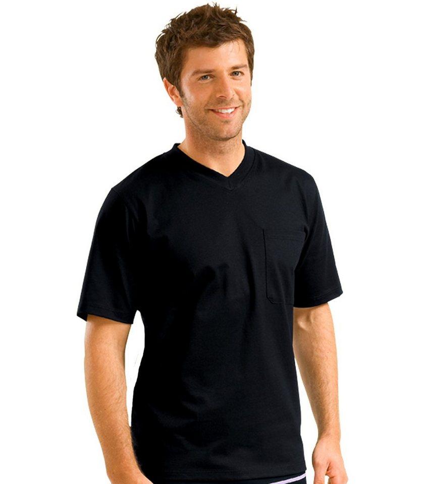TRIGEMA V-Shirt mit Brusttasche in schwarz