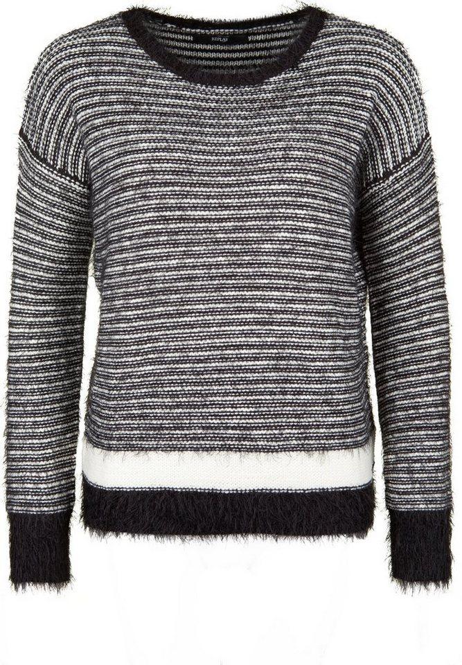 REPLAY Strickpullover »MIT EFFEKTGARN« in black/white