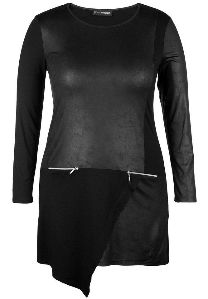 Doris Streich Jerseykleid »MIT LEDER-OPTIK UND ZIPFELSAUM« in schwarz