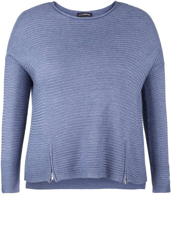 Doris Streich Strickpullover »IN QUERRIPPEN-OPTIK« in jeansblau
