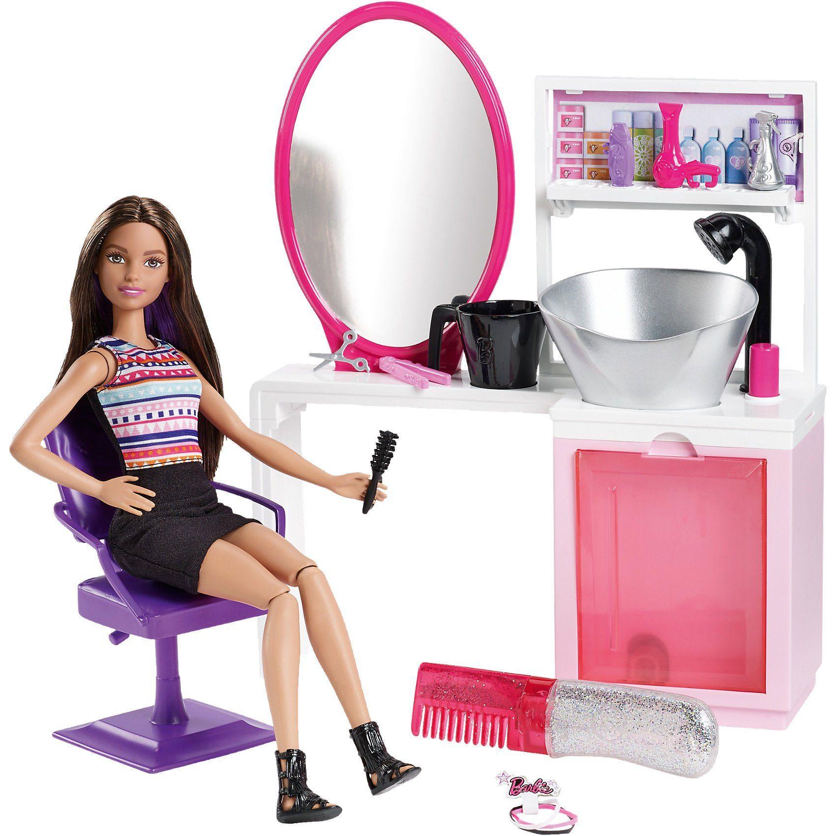 Mattel Barbie Glitzer-Salon & Puppe brünette