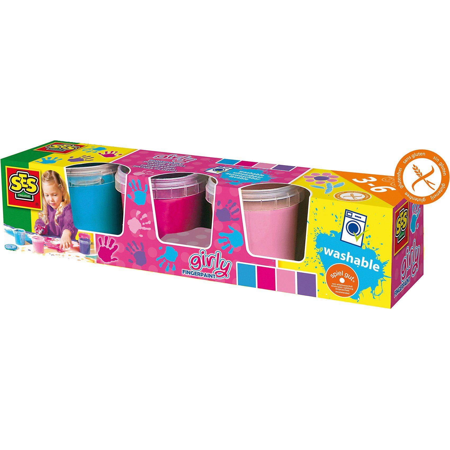 SES Creative Creative Fingerfarben, 4 x 50 ml Trendfarben