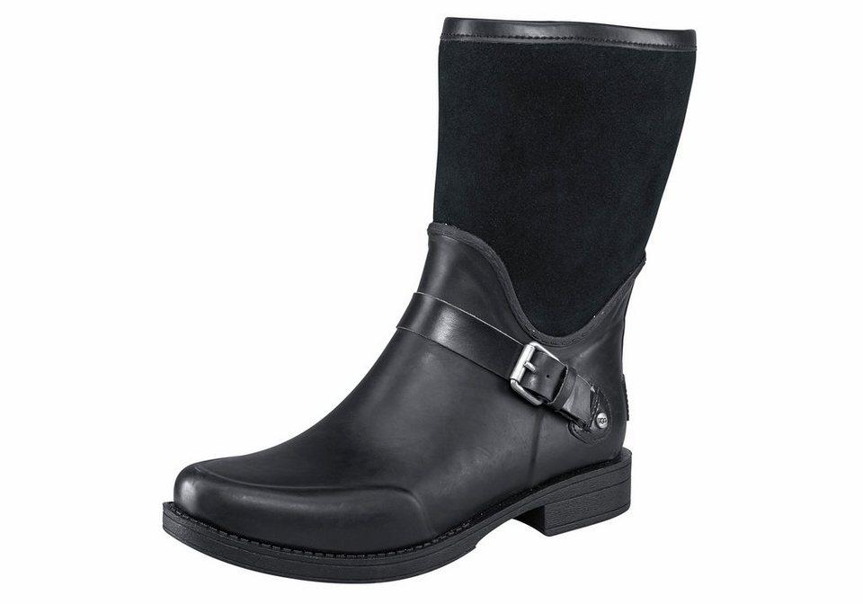 UGG »Sivada« Gummistiefel im Materialmix aus Leder und Gummi in schwarz