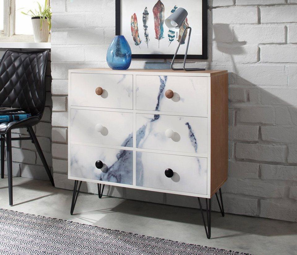 Home affaire Kommode, Breite 77 cm in weiß-marmoriert