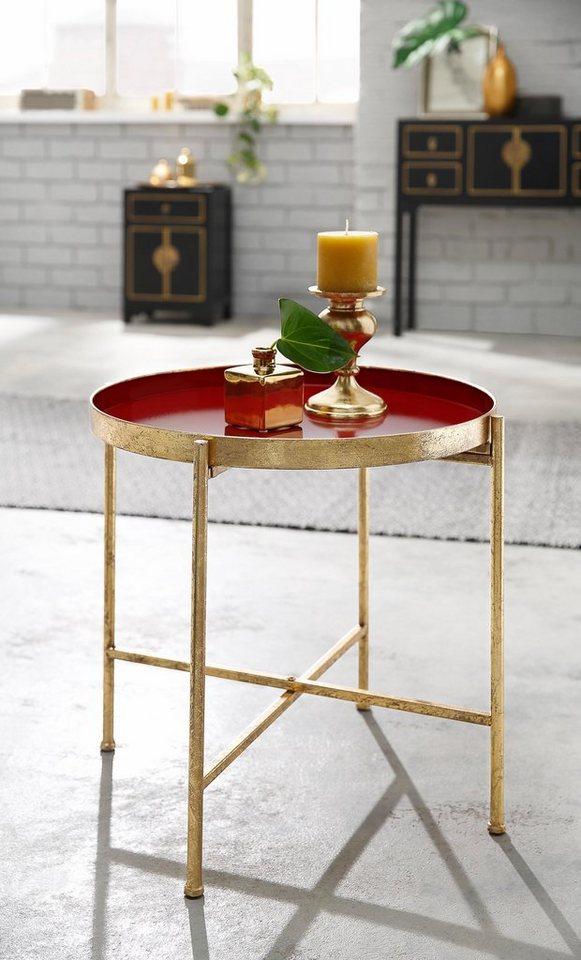 Home affaire Beistelltisch in gold/rot
