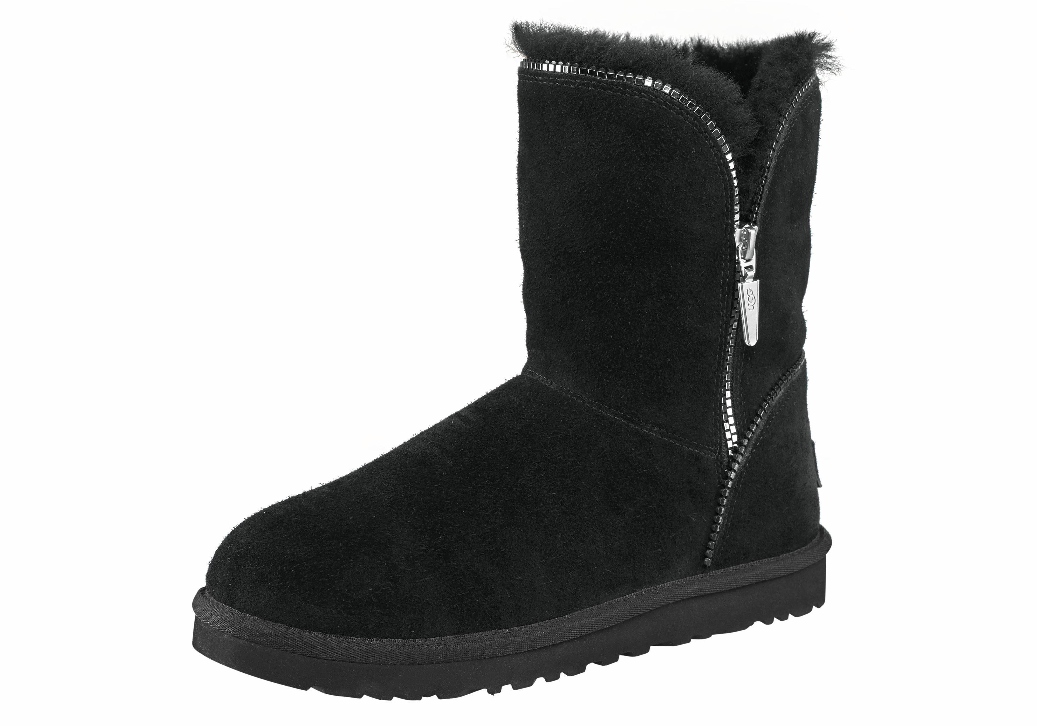 UGG »Florence« Winterboots, mit coolem Zipper-Detail, schwarz, US-Größen, schwarz