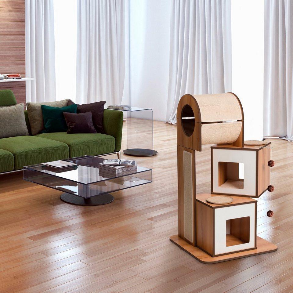 Kratzbaum »V-Tower« walnussfarben in hellbraun/weiß