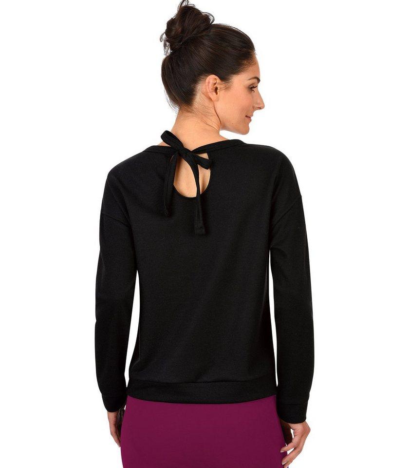 TRIGEMA Sweatshirt mit Schleife in schwarz