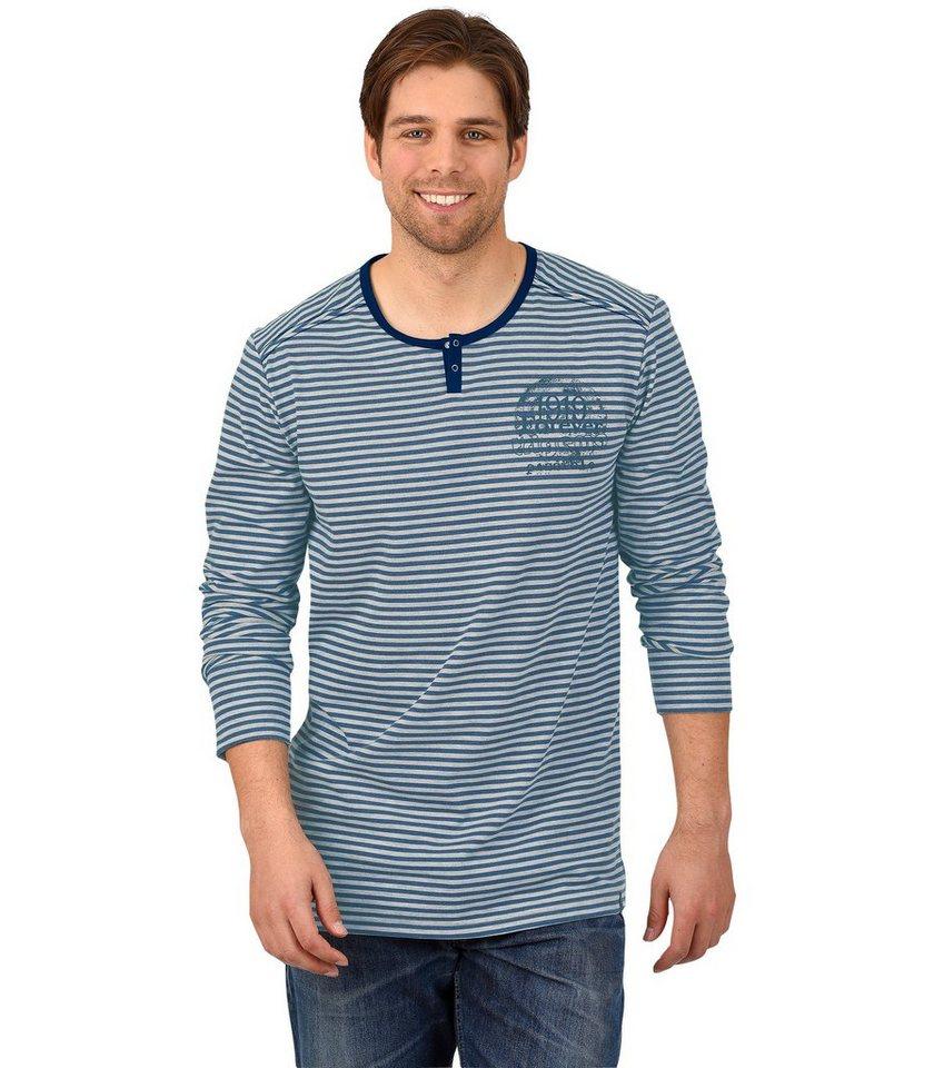 TRIGEMA Langarm-Shirt mit Knopfleiste in night-blue