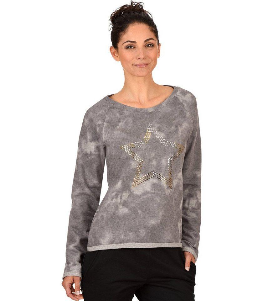 TRIGEMA Sweater Stern in grau-melange