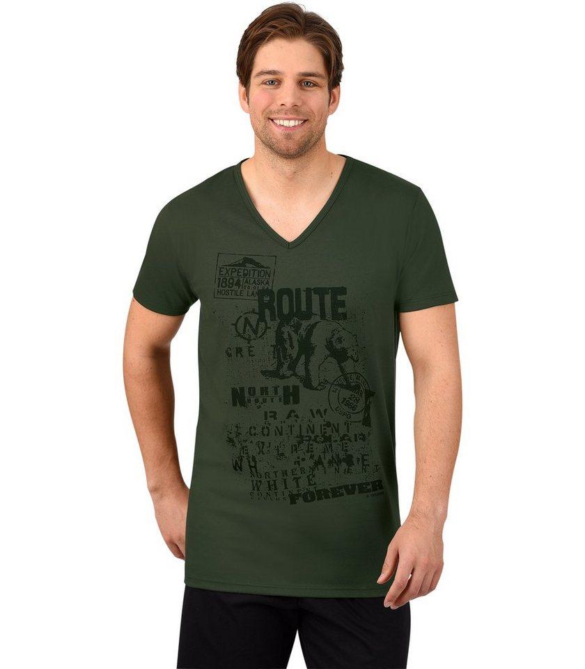 TRIGEMA T-Shirt Route in khaki