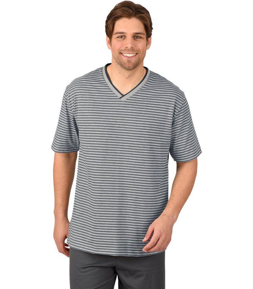 TRIGEMA V-Shirt DELUXE Baumwolle in grau-melange
