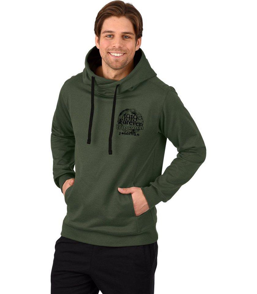 TRIGEMA Kapuzen-Sweatshirt in oliv-melange