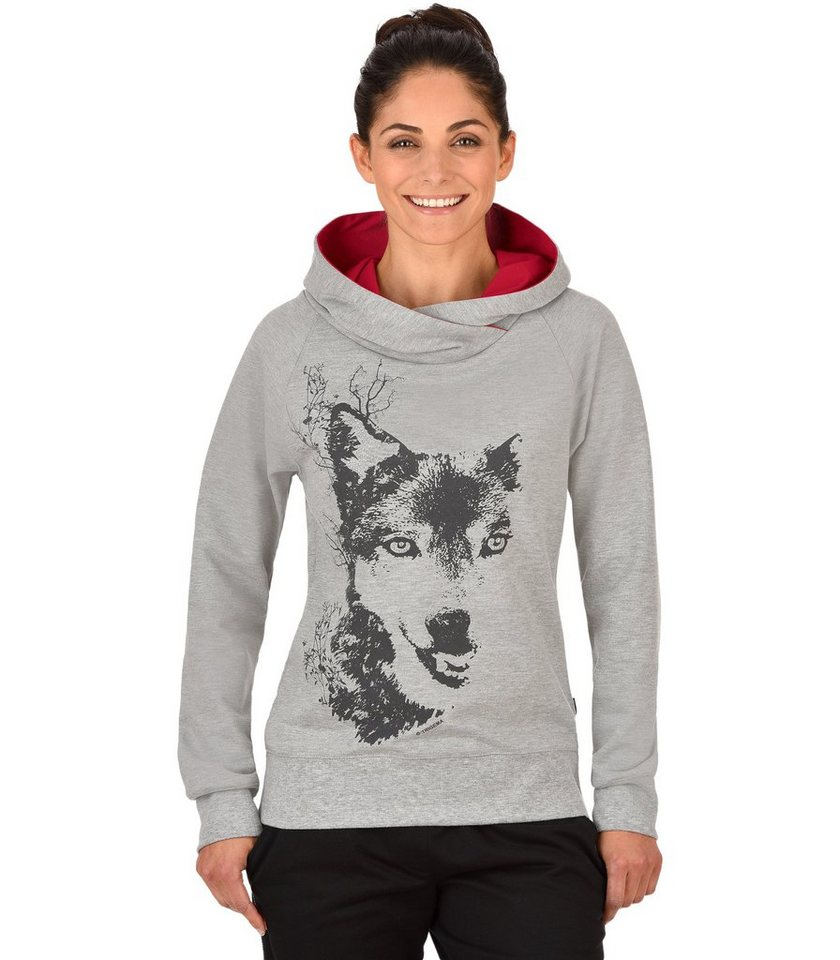 TRIGEMA Kapuzensweater Wolf in grau-melange