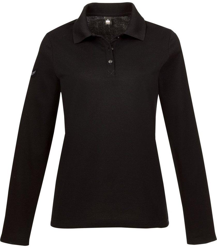 TRIGEMA Langarm Poloshirt in schwarz