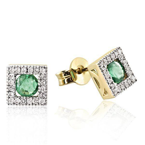 goldmaid Paar Ohrstecker 375/- Gelbgold 40 Diamanten 0,20 ct. 2 grüne Sma