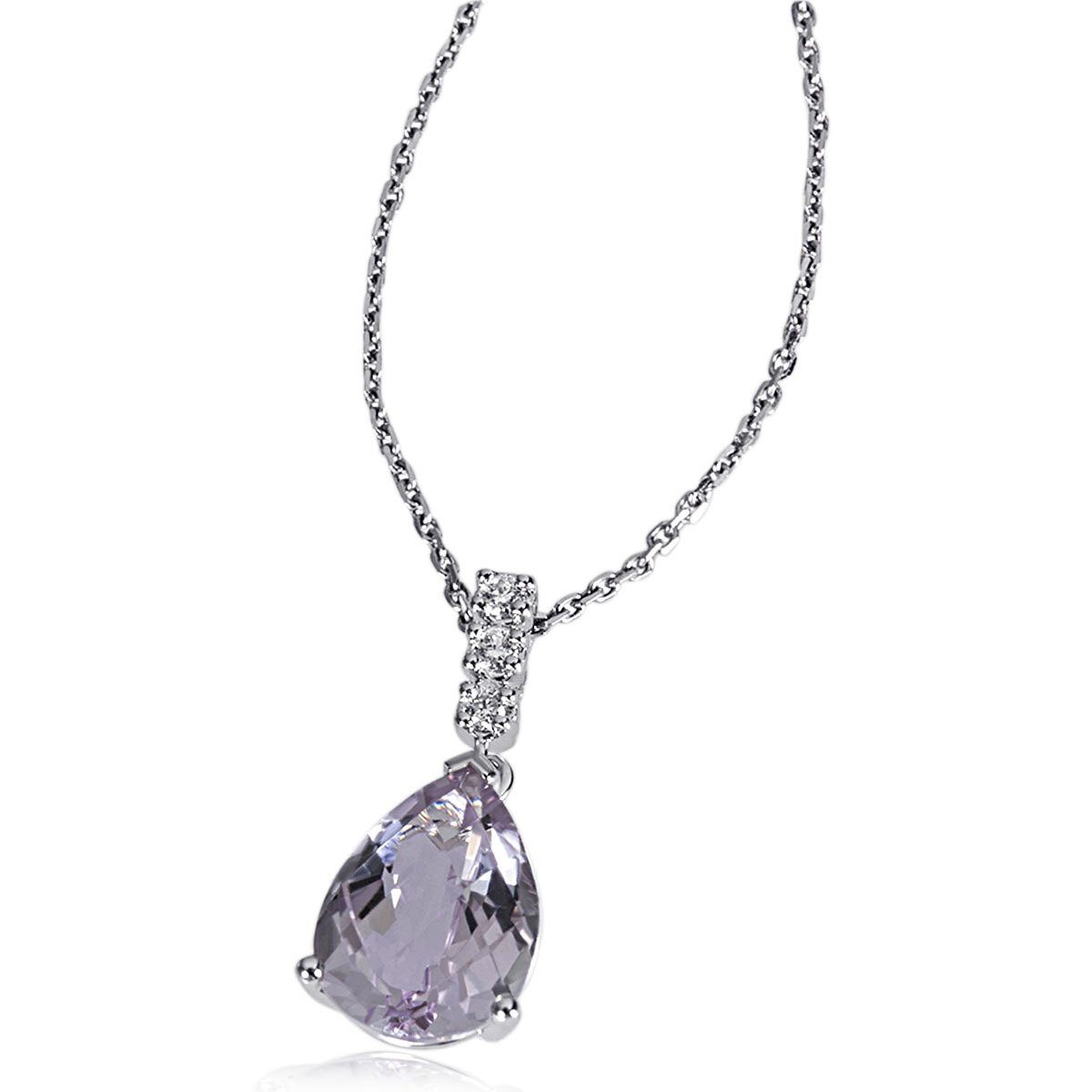 goldmaid Collier 375/- Weißgold 1 Amethyst 5 Brillanten 0,04 ct.