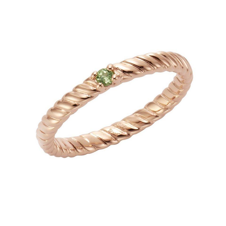 Jamelli Ring »925/- Sterling Silber rotvergoldet Peridot« in rot
