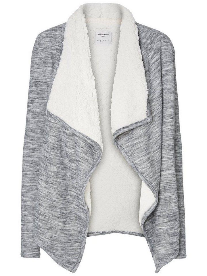 Vero Moda Kunstfell- Strickjacke in Medium Grey Melange