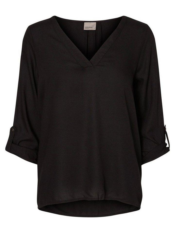 Vero Moda Feminines Oberteil mit 3/4-Ärmeln in Black