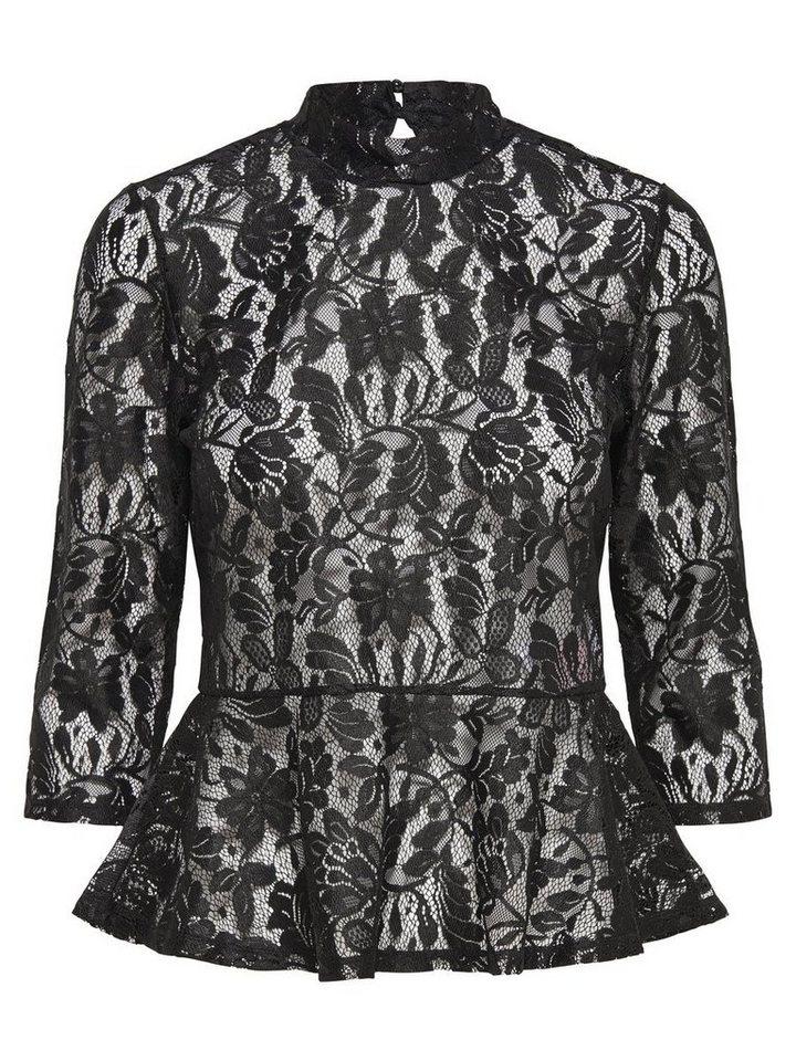 Only Spitzen- Bluse mit 3/4 Ärmeln in Black